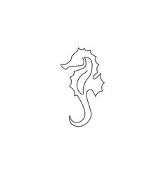 one continuous line drawing adorable sea horse vector image