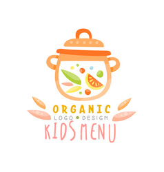 Organic kids menu logo design healthy food banner vector