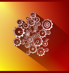 paper cogs gears on red and gold background vector image