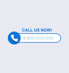 Phone call us now template blue mobile vector