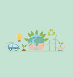 planet and save energy icon set design vector image