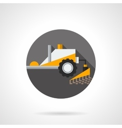 Plowing tractor flat color design icon vector image