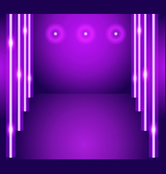 purple background - empty room with lights vector image
