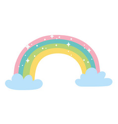 rainbow clouds bright decoration cartoon isolated vector image