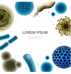 Realistic bacteria and viruses template vector