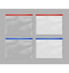 Realistic plastic zipper bag mock up set vector