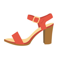 Red female sandal on heel isolated cartoon vector