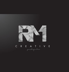 Rm r m letter logo with zebra lines texture vector