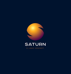 saturn planet emblem and s monogram vector image
