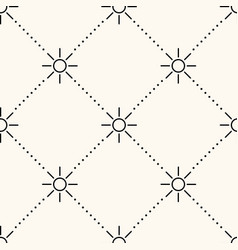 seamless geometric pattern with sun icons vector image