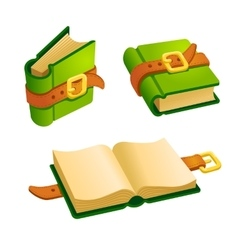 Set of cartoon green book vector