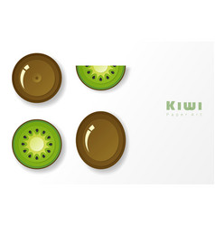 Set of kiwi fruit in paper art style vector
