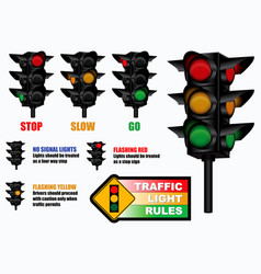 Set of traffic light rules sign vector