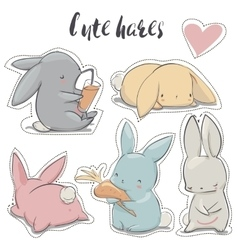 Set with cartoon hares vector