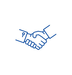 shake hands line icon concept shake hands flat vector image