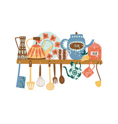 Shelf with ceramic tableware and hanging kitchen vector