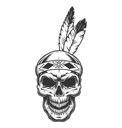 Skull with indian feather vector