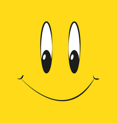 smile on a yellow background in flat style vector image