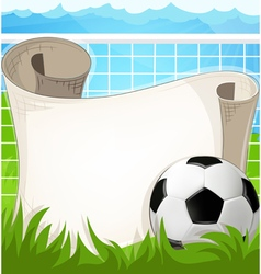 Soccer ball with paper scroll vector