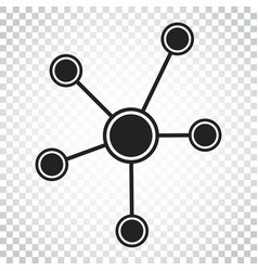 social network molecule dna icon in flat style vector image