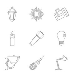 Sources of light icon set outline style vector