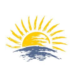 Sun dawn in the sea vector