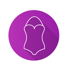 Swimsuit flat linear long shadow icon vector