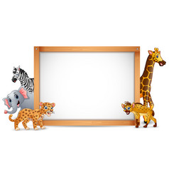 the animals and blank sign wood vector image