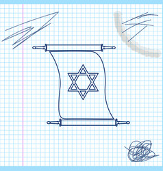 Torah scroll line sketch icon isolated on white vector