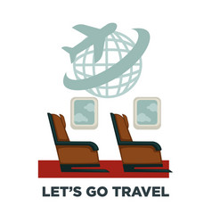 travel or airplane trip and world voyage vector image