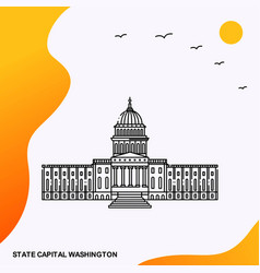 Travel state capital washington poster template vector