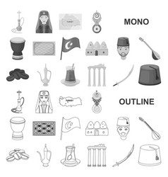 Turkey country monochrom icons in set collection vector