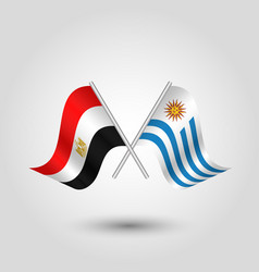 Two crossed egyptian and uruguayan flags vector