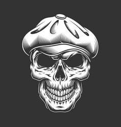 Vintage irish skull in tweed cap vector