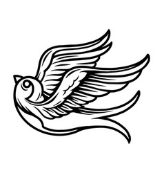 vintage tattoo concept flying swallow vector image