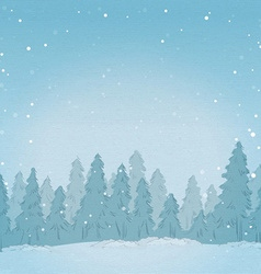 Vintage winter forest landscape background vector image