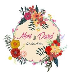 Watercolor greeting card flowers Handmade Wedding vector