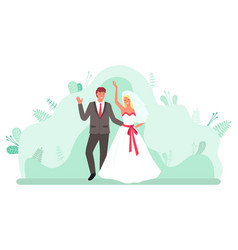 Wedding ceremony bride and groom dancing vector