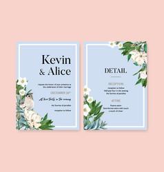 Winter bloom wedding card design with bird flower vector