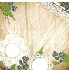wooden background with flowers vector image
