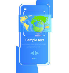 world map on smartphone screen global network vector image