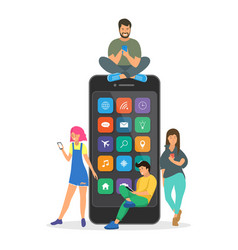young children are near a large smartphone vector image