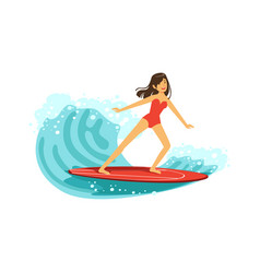 beautiful brunette girl in red swimsuit surfing on vector image vector image