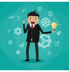 cartoon businessman holding light bulb vector image vector image