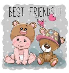 Cute cartoon baby and Teddy Bear vector image vector image