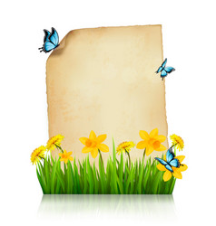 old sheet of paper with spring flowers and vector image vector image