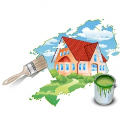 private residence drawn by paints vector image