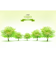 Beautiful summer nature background with green vector image
