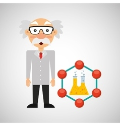 character man scientist experiment test tube vector image