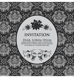 Floral Damask Invitation Card vector image